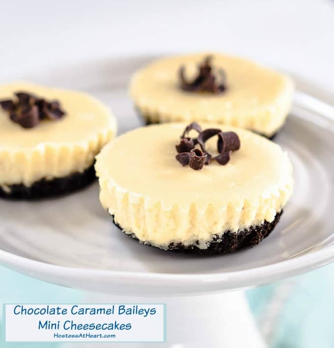Decadent Chocolate Caramel Baileys Mini Cheesecakes Recipe
