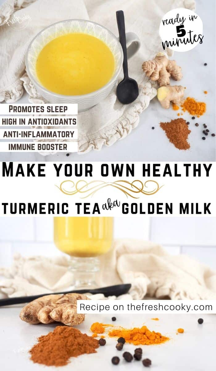 Golden Milk or Turmeric Tea is a powerful, coffee-free, soothing, warm immune boosting, antioxidant loaded, anti-inflammatory latte that also aids in sleep! Recipe and Benefits via @thefreshcooky | #curcumin #benefits #goldenmilklatte #howtomake #benefitsofturmeric #easy #keto #simple #5minutes #videos #best #paleo #vegan #cold #turmericarthritis #ayurvedic #authentic #turmericlatte #forsleep #turmericforsleep #coffeefree #latte via @thefreshcooky