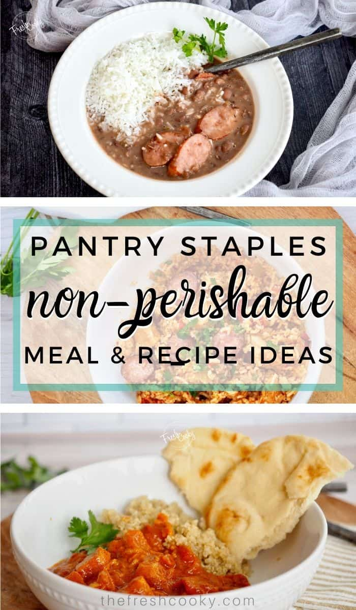 Stocking your pantry and freezer in case of an emergency. Ideas for meal prep during times of quarantine and isolation. Easy, healthy recipes and meal ideas with tips and substitutions. Meal ideas using non-perishable foods. Via @thefreshcooky | #stockpiling #emergency #preparedness #ideas #simple #dinnerideas #socialdistancing via @thefreshcooky