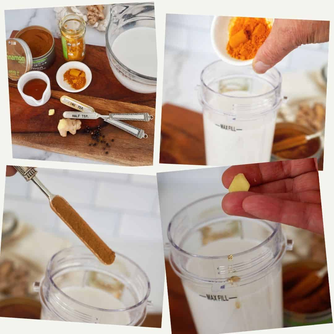 Process shots for turmeric tea golden milk, ingredients on cutting board, adding spices, adding cinnamon, adding ginger.