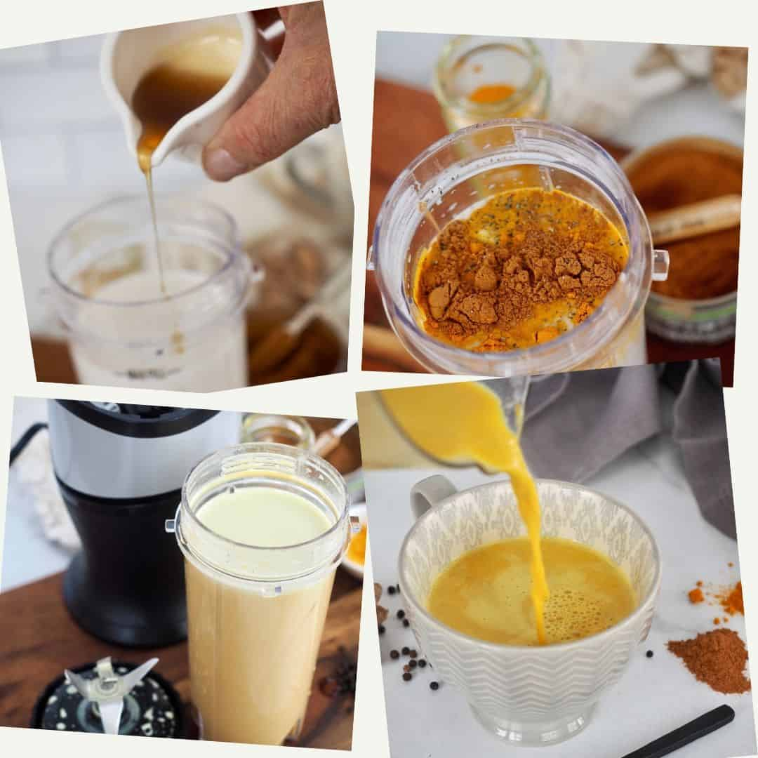 Process shots for making Golden Milk Turmeric Tea. 1. Adding maple syrup, 2. spices added 3. post blending 4. post heating and pouring into mug.