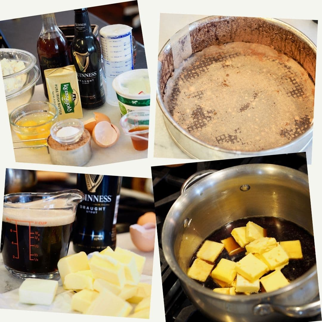 Process shots for Guinness Chocolate Cake with Irish Buttercream. Ingredients for cake, springform pan lined, floured and oiled. Guinness, butter and eggs. Lastly, butter melting with guinness beer.
