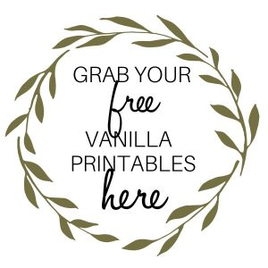 Image for free vanilla printable labels with green vine circle around the print.