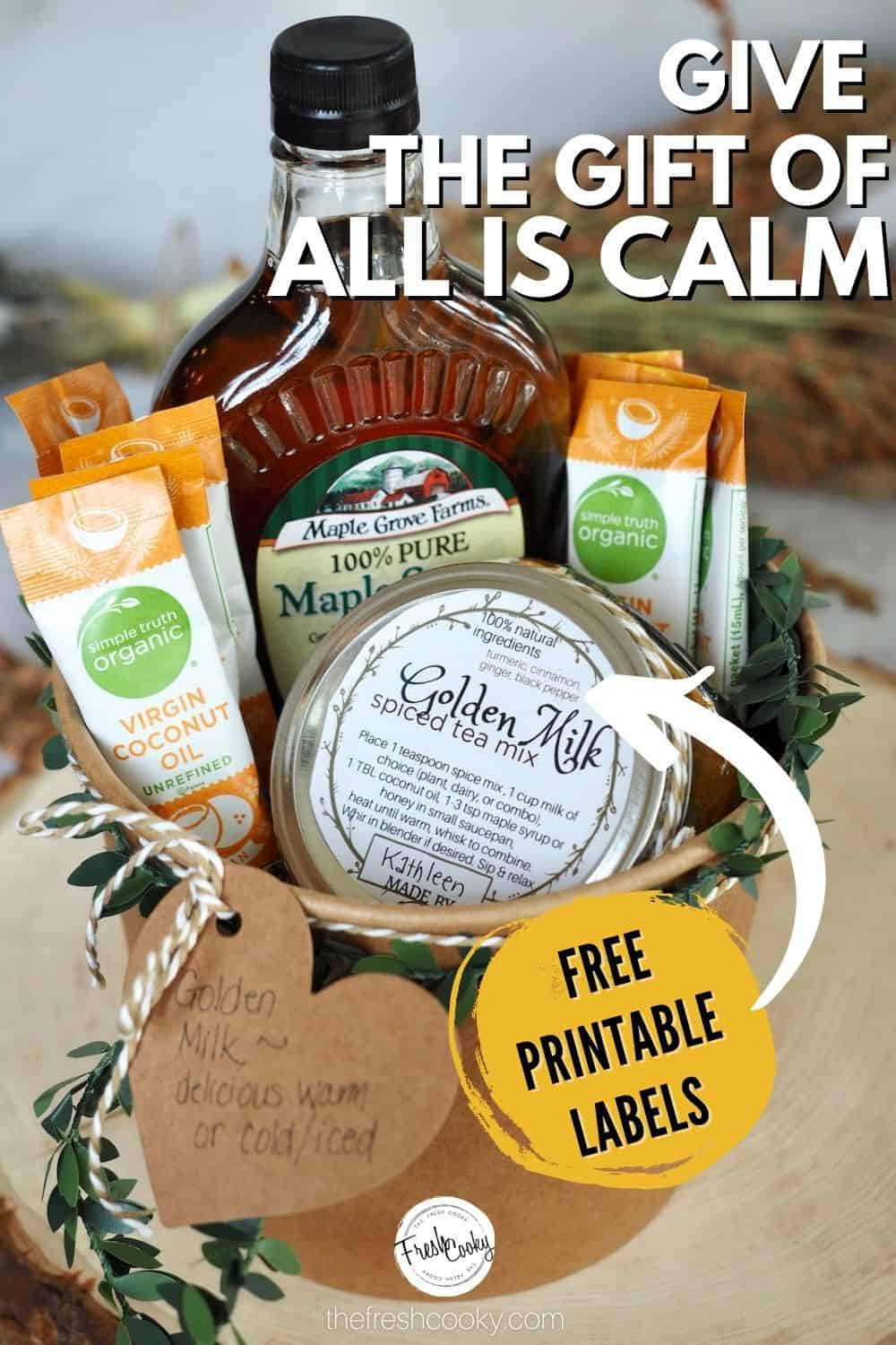 Gift the gift of health and calm this holiday season making these delicious, vegan Golden Milk gift baskets. #thefreshcooky #foodgifts #goldenmilkrecipe via @thefreshcooky
