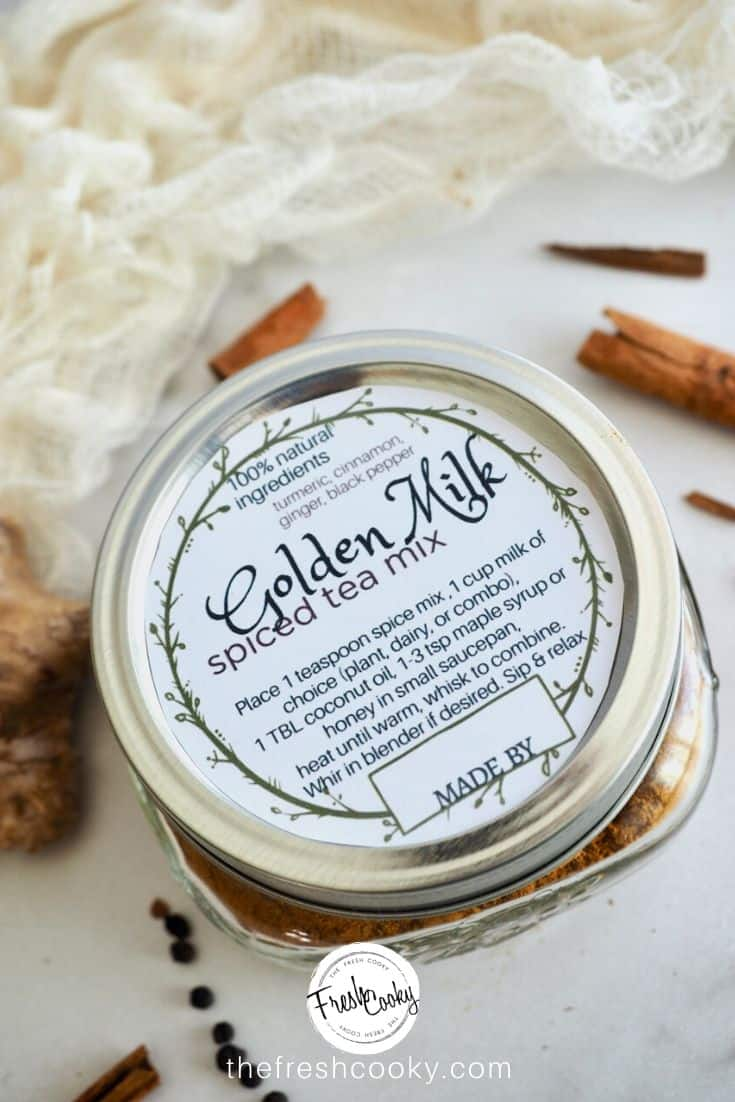 Jar of Golden Milk Spice Tea Mix with label on top.