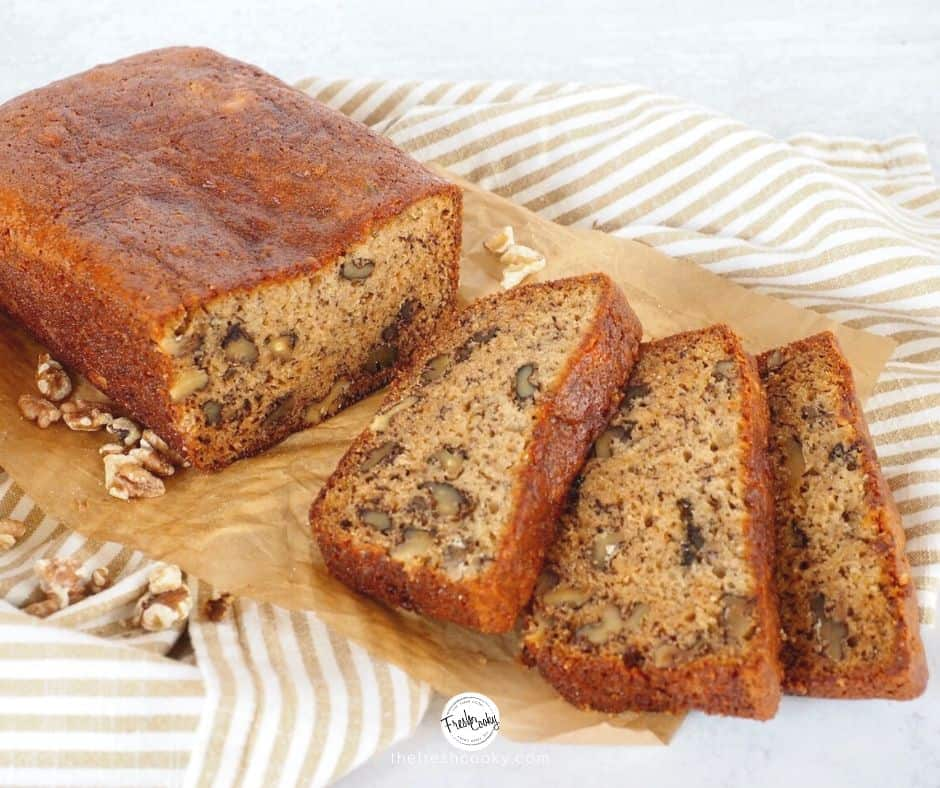 sliced loaf of best banana bread recipe | thefreshcooky.com