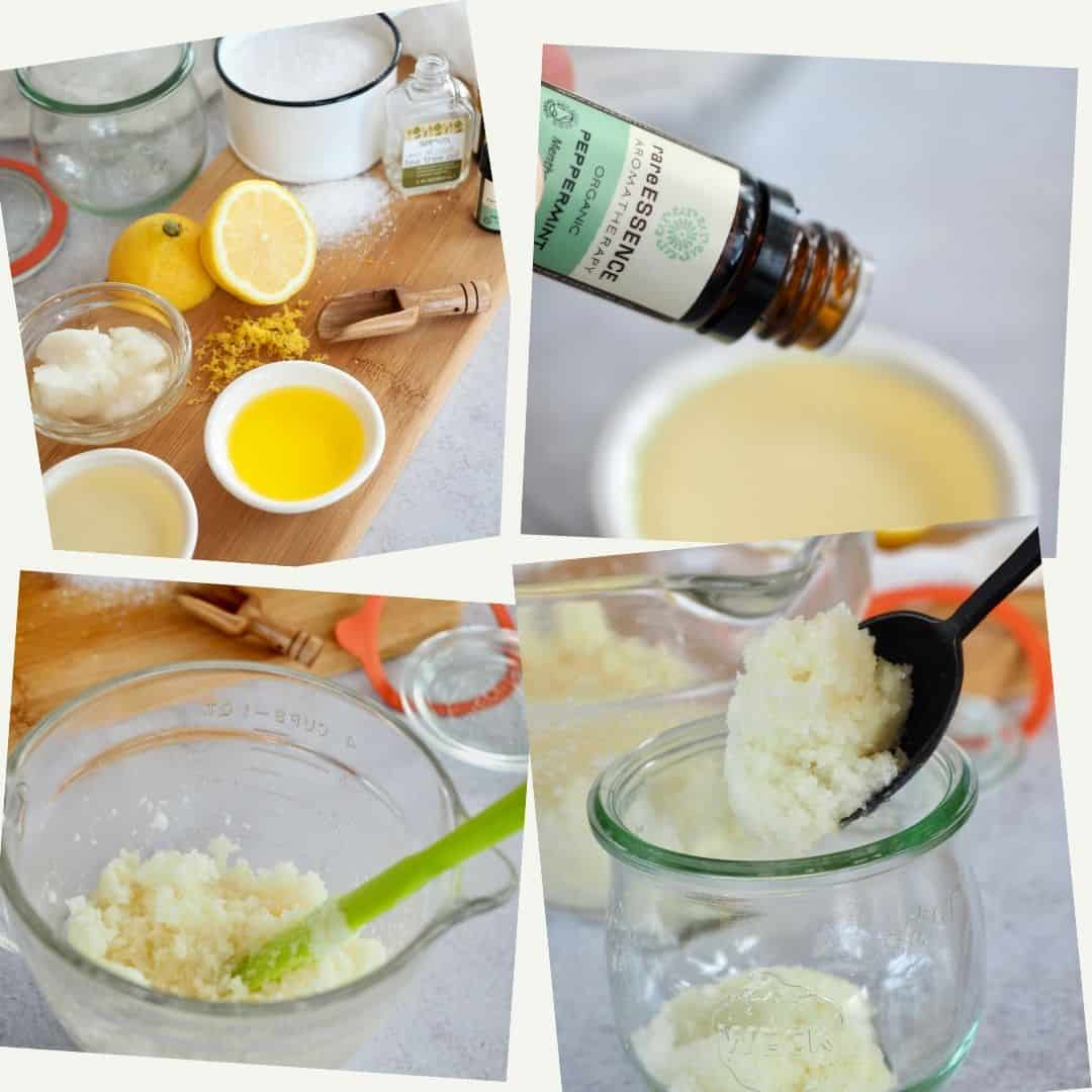 Process shot for antibacterial hand scrub, top ingredients for hand scrub, 2) adding peppermint essential oil 3) stirring hand scrub, 4) spooning into pretty jars.