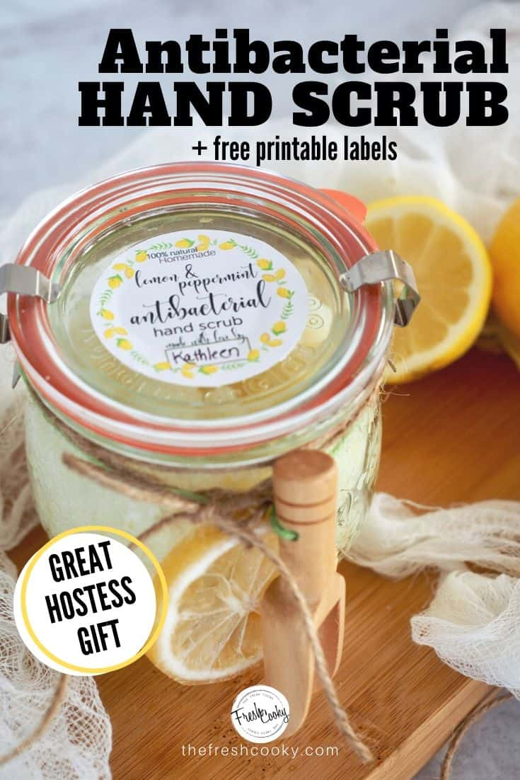 Make your own antibacterial hand scrub. Soft, healing, all natural - takes 5 minutes! Great for hostess gifts, Mother's day, neighbors and morel Recipe and FREE printable labels via @thefreshcooky | #freebies #antibacterial #handscrub #lemon #peppermint #teatreeoil #essentialoils #diy #howtomake #scrub #saltscrub #sugarscrub via @thefreshcooky
