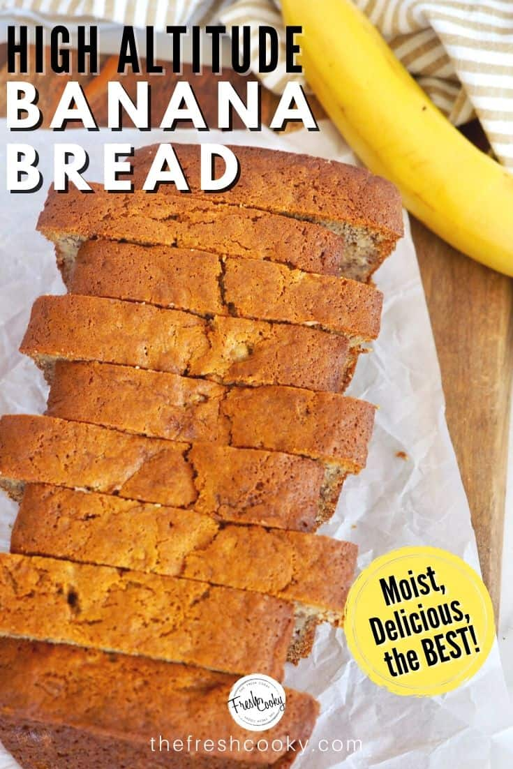 High Altitude Adjusted Banana Bread, no more sinking middles and this recipe is soo moist, full of bananas and if you choose, nuts and chocolate chips! Grab the recipe @thefreshcooky | #bananabread #bestbananabread #quickbread #flourbakery #highaltitude  via @thefreshcooky