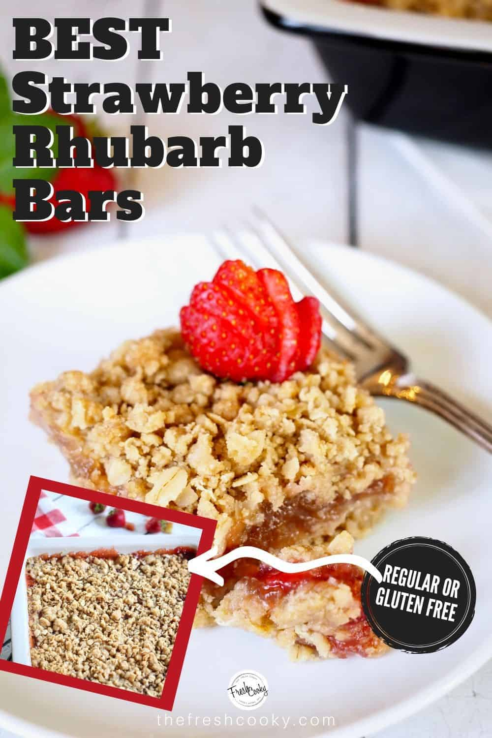 These strawberry rhubarb crumb bars combine an easy oatmeal shortbread crust, a ribbon of sweet-tart strawberry rhubarb filling, and an amazing crumble oat topping. Recipe via @thefreshcooky | #glutenfree #vegetarian #eggfree #dessert #fruit #strawberry #rhubarb #bars #crumble #crisp #spring #summer #dessert #thefreshcooky via @thefreshcooky