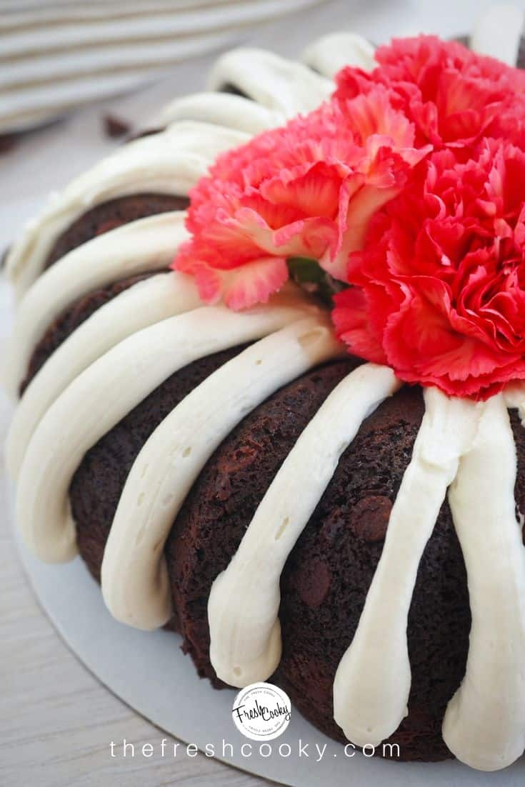 finished bundt cake with flowers on top