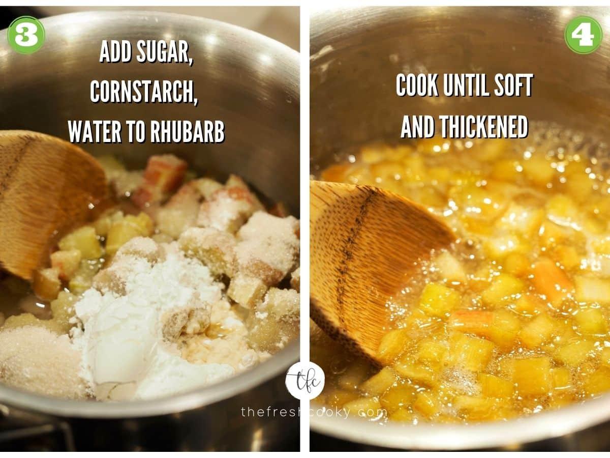 process shot for strawberry rhubarb crumb bars 3) sugar, cornstarch in rhubarb mixture 4) cooked down rhubarb mixture.