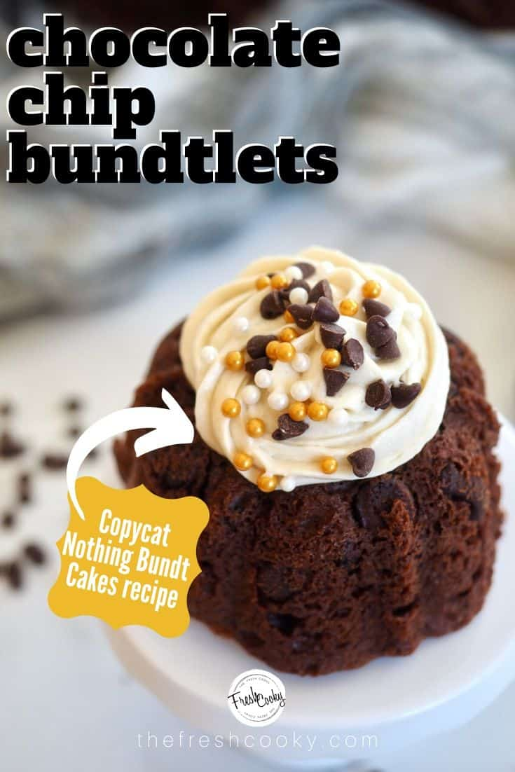 A copycat recipe from Nothing Bundt Cakes for moist and amazing Chocolate Chocolate Chip Bundt cake! The best and easiest part, this Chocolate Chip Bundt Cake recipe uses cake mix and pudding! The ideal recipe for Mother's day, baby and bridal showers or just because! Make bundtlets, mini bundts or cupcakes too! Recipe and video via #thefreshcooky | #easy #pudding #cakemix #wedding #cake #mothersday #chocolate #rich #easter #easydessert #bundtini #bundtlet #minibundt via @thefreshcooky