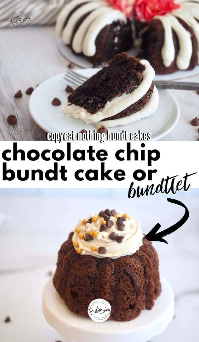 A Nothing Bundt Cakes copycat recipe for moist and amazing Chocolate Chocolate Chip Bundt cake or mini bundts! Chocolate Chip Bundt Cake recipe uses cake mix and pudding! The ideal recipe for Mother's day, baby and bridal showers or just because! Make bundtlets, mini bundts or cupcakes too! Recipe and video via #thefreshcooky | #easy #pudding #cakemix #wedding #mothersday #chocolate #rich #easter #easydessert #bundtini #bundtlet #minibundt #highaltitude via @thefreshcooky