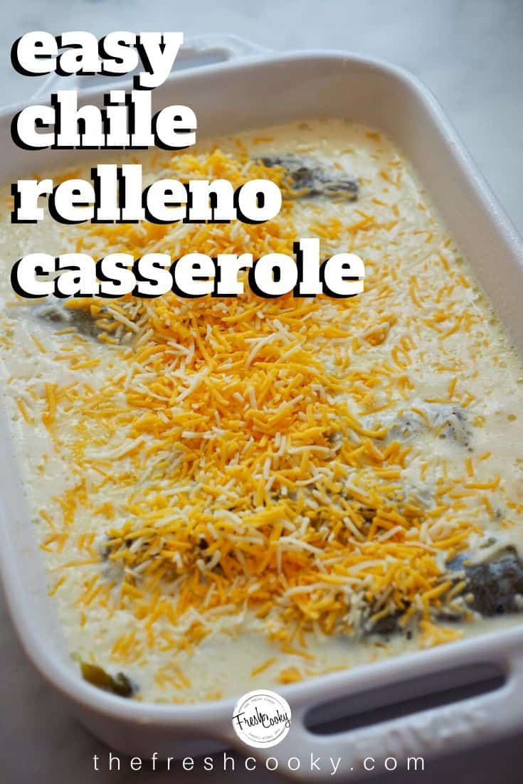Easy Chile Relleno Casserole is a delicious vegetarian dish made with Monterey Jack cheese stuffed whole roasted Hatch green chiles, topped with an egg, milk batter, topped with more cheese, then baked into fluffy perfection. Easily adapted to be gluten free. Great for breakfast, brunch or dinner! Recipe via @thefreshcooky | #meatless #lowcarb #best #mexicanrecipes via @thefreshcooky