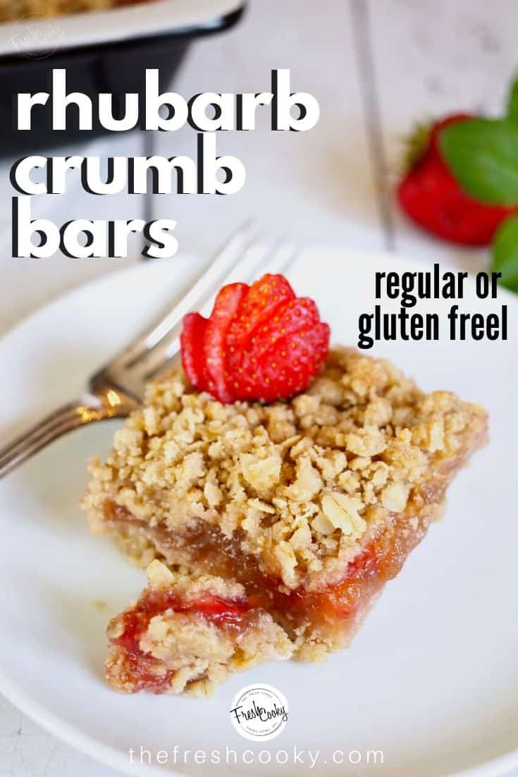 The Best Strawberry Rhubarb Crumb Bars have a tender oatmeal shortbread crust and crumb topping with a sweet-tart ribbon of strawberry rhubarb compote layered between. The ideal springtime treat! Recipe via @thefreshcooky | #glutenfree #vegetarian #eggfree #dessert #fruit #strawberry #rhubarb #bars #crumble #crisp #spring #summer #dessert #thefreshcooky via @thefreshcooky