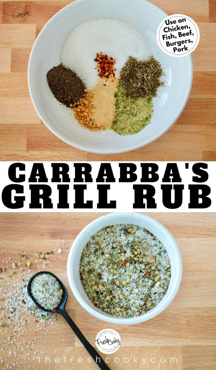 Pinterest Image with two images, one with white bowl and grill rub spices in bowl, second below with mixed spice rub mix and black spoon.