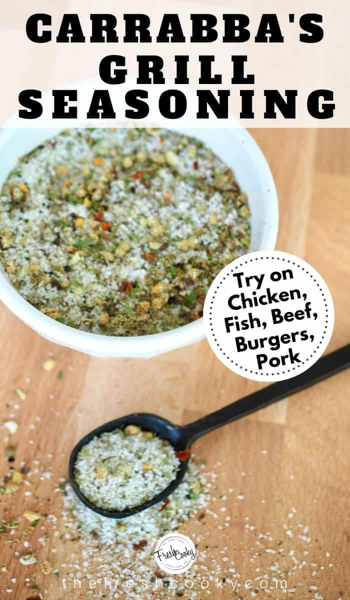 Pin for Carrabba's Grill Seasoning with image of seasoning in white bowl, black spoon with seasoning spilled around it.