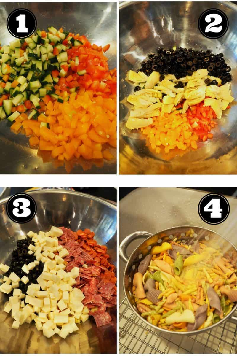 Process Shots for Antipasto salad. 1. chopped bell peppers (orange, red and yellow) chopped cucumber. 2. chopped olives, chopped artichoke hearts. 3. chopped cheeses, pepperoni and salami. 4. rinsing tricolor pasta.