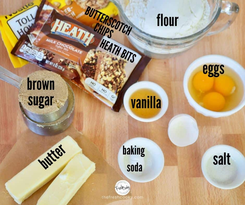 easy chewy blondies ingredients with names of items