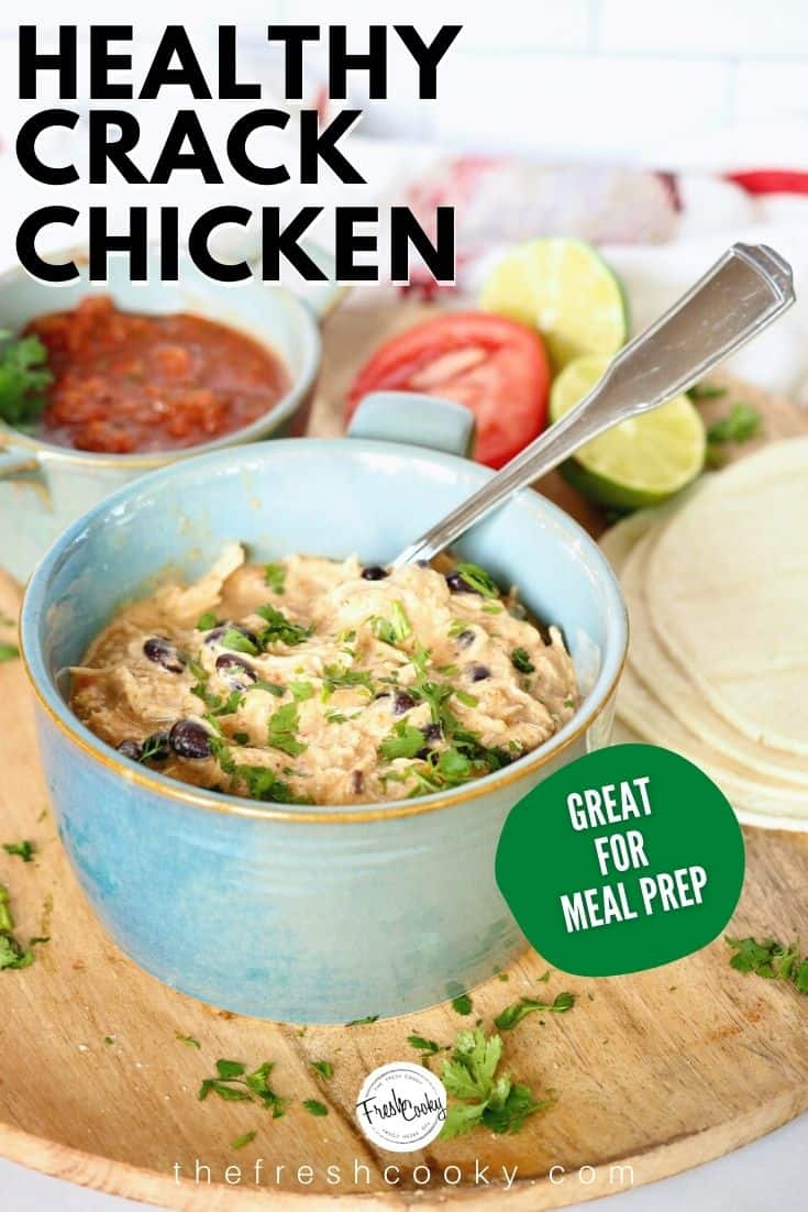 A delicious, healthier version of crack chicken aka creamy salsa chicken. No packets of ranch dressing in this dish, simple, rich spices. Use for tacos, enchiladas, quesadillas, sandwiches and more! Low carb too! Make in your Instant Pot or Slow Cooker! Recipe via @thefreshcooky | #crackchicken #healthy #salsa #pressurecooker #crockpot #easyweeknightmeal #easyrecipes via @thefreshcooky