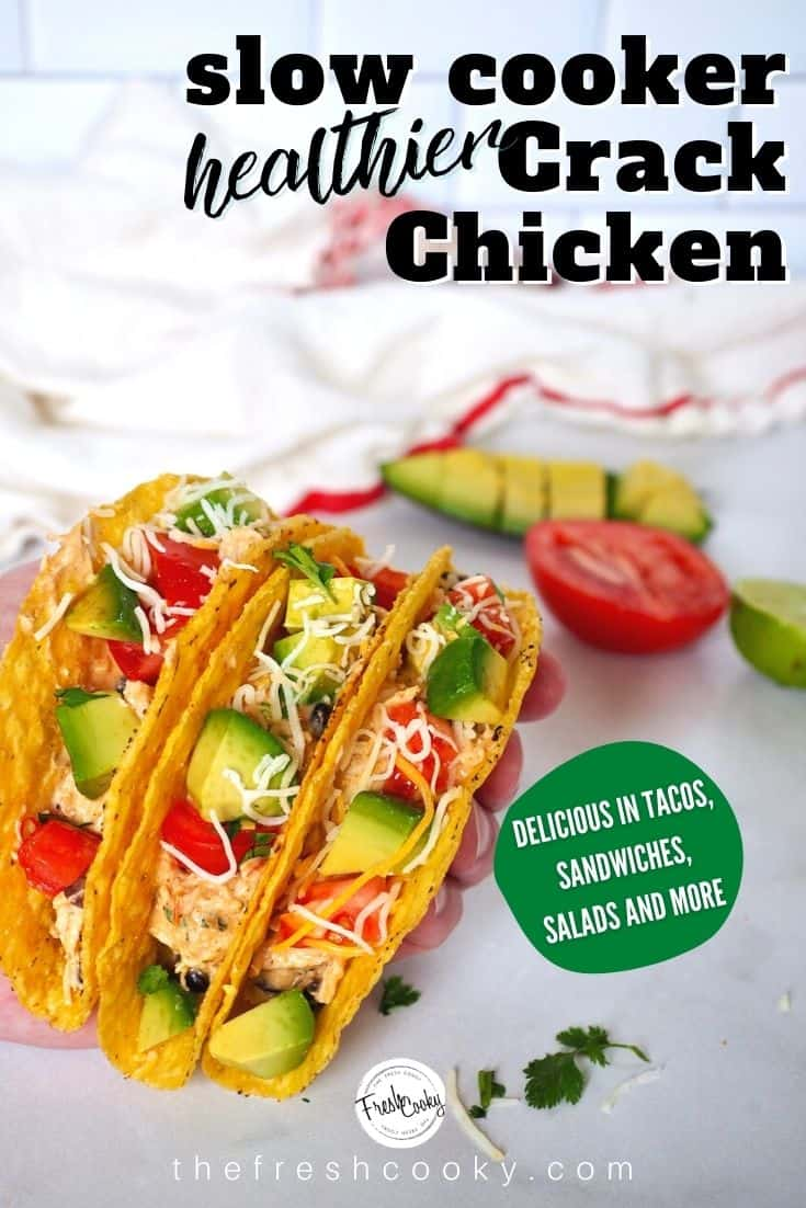 A delicious, healthier version of crack chicken aka creamy salsa chicken. No packets of ranch dressing in this dish, simple, rich spices. Use for tacos, enchiladas, quesadillas, sandwiches and more! Low carb too! Make in your Instant Pot or Slow Cooker! Recipe via @thefreshcooky | #crackchicken #healthy #salsa #pressurecooker #crockpot #glutenfree #keto #easyweeknightmeal #easyrecipes via @thefreshcooky