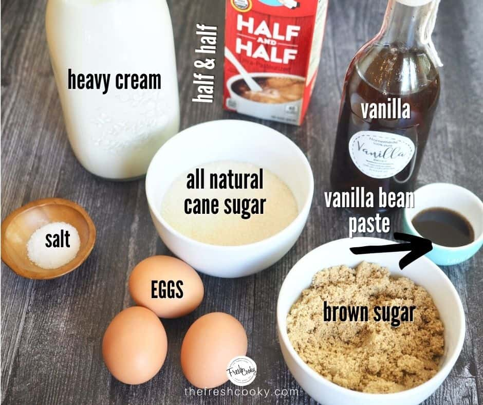 ingredients for homemade vanilla ice cream. Left to right. Heavy Cream, half and half, vanilla extract. salt, cane sugar, vanilla bean paste, eggs and brown sugar