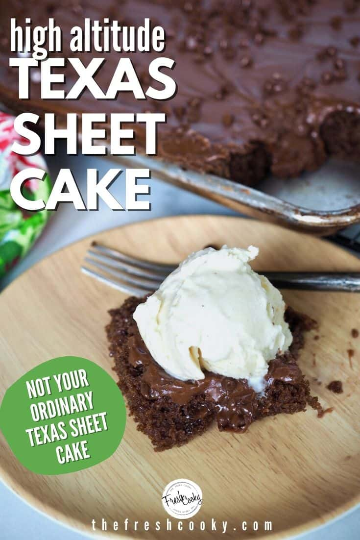 This Texas Sheet Cake recipe takes the cake! I've tweaked this recipe to accommodate high altitude and sea level instructions, plus making it absolute perfection! Chocolate-y, rich, dense, a little chewy and amazing frosting. Recipe via @thefreshcooky | #pioneerwoman #cake #baking #chocolate #sheetcake #halfsheet #potluck #dessert via @thefreshcooky