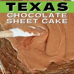 Pin for High Altitude Pioneer Woman Texas Chocolate Sheet Cake with spatula spreading cooked fudge frosting on top of a chewy chocolate sheet cake.