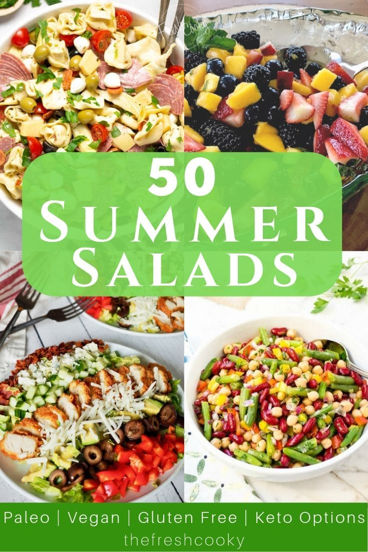 50 of the Best Summer Salads to break up summer salad boredom. Recipes for every way of eating. Gluten free, Healthy, Healthy-ish, Traditional, Keto, Vegan, Paleo and more! www.thefreshcooky.com #summersalads #summerrecipes #easysalads #saladrecipes #salad #springsalad #potluck #barbecue via @thefreshcooky