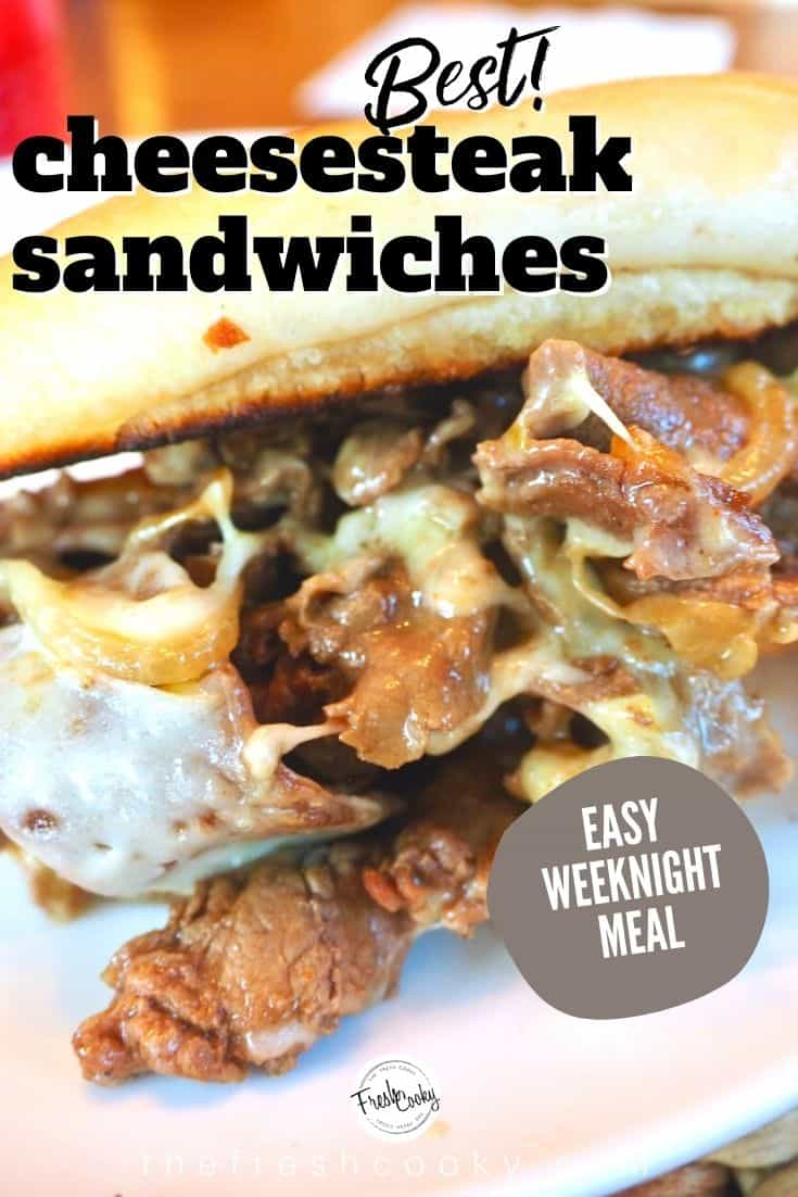 This Best Cheesesteak recipe is made with tender thin steak, caramelized onions, simmered ever so quickly in an amazing sauce, then smothered in melted cheese and served on a toasted hoagie roll. Grab the ultimate cheesesteak recipe via @thefreshcooky | #cheesesteak #phillycheesesteak #phillycheesesteakrecipe #beef #ribeyesteak #sandwichrecipes #easydinnerrecipes #easydinner #30minutemeal #easydinnerideas  via @thefreshcooky