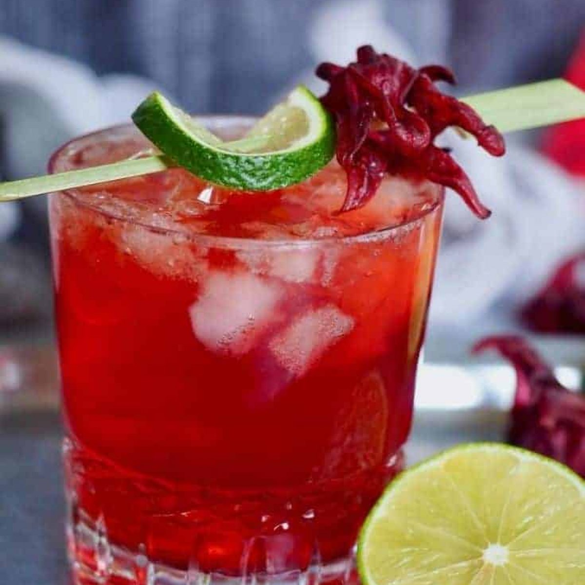 Hibiscus Dark and Stormy Drink