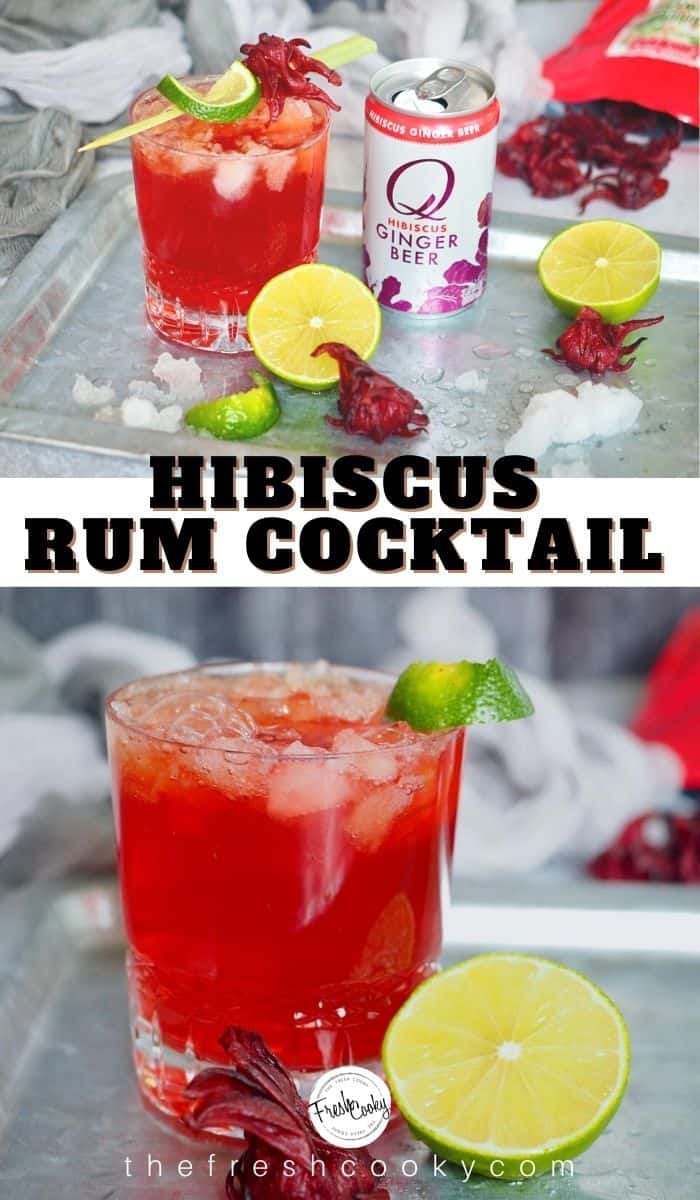 Only 3 ingredients to this amazing, Dark and Stormy Hibiscus drink. Using Hibiscus Spicy Ginger Beer, smooth dark rum, and fresh lime juice. Recipe via @thefreshcooky | #summercocktail #mocktail #cocktail #darkrum #gingerbeer #cocktail #easycocktail #rum #3ingredients #refreshing #darkandstormy #drink via @thefreshcooky