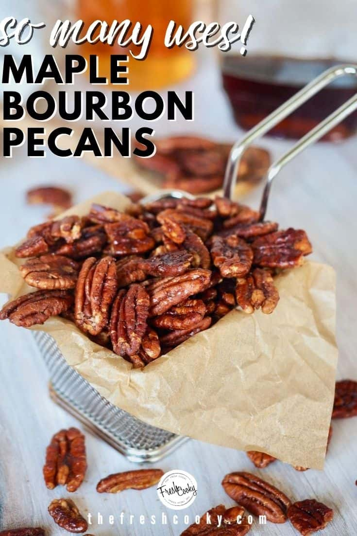 How to Make Praline Pecans! Candied pecans are amazing and these no refined sugar Maple Bourbon Pecans are even better! Sweet maple syrup, smoky bourbon, rich cinnamon, a little spicy heat makes these pecans outrageously addictive! A delicious sweet-salty mix. Recipe via @thefreshcooky | #spicypecans #sweetsalty #pecans #bourbonbarrel #maplesyrup #pralinepecans #howtomake via @thefreshcooky