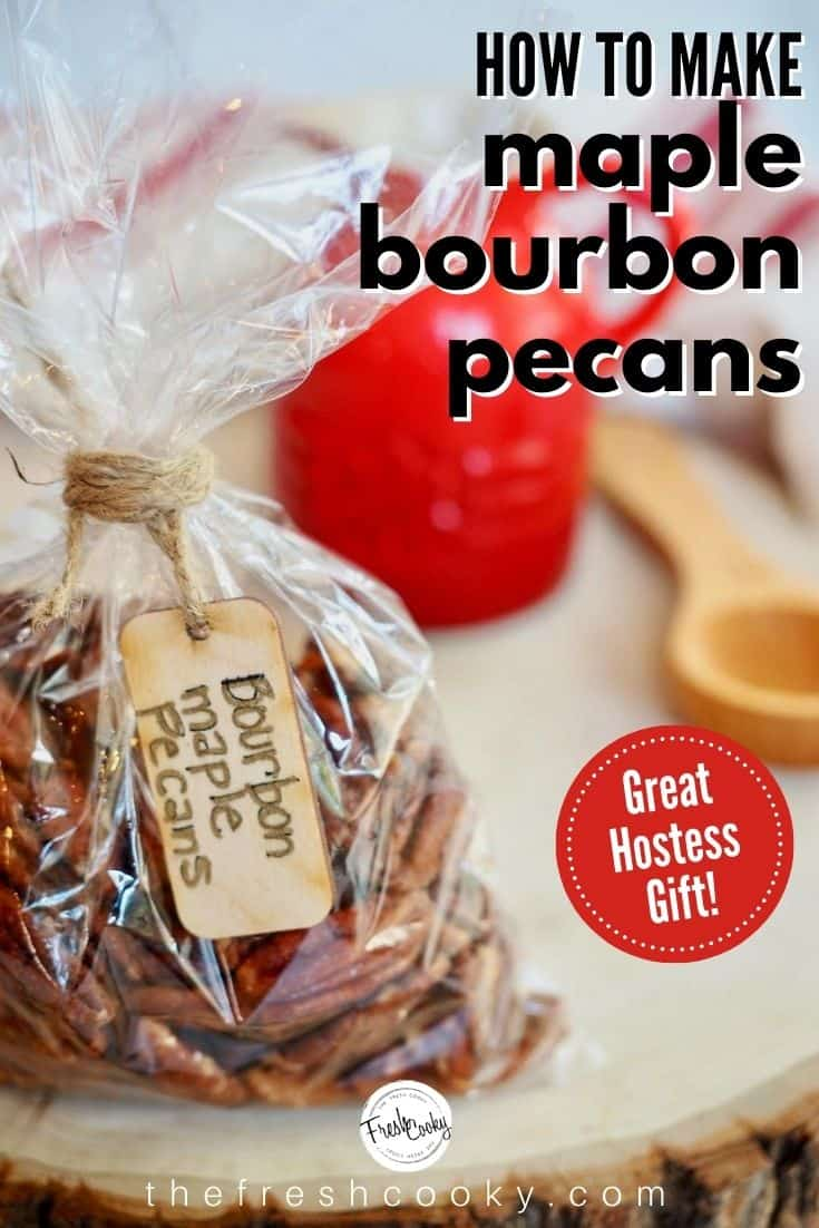 How to Make Praline Pecans! Maple Bourbon Pecans are the perfect hostess, neighbor, friend and teacher gift! Sweet maple syrup, smoky bourbon, rich cinnamon, a little spicy heat makes these pecans outrageously addictive! A delicious sweet-salty mix. Recipe via @thefreshcooky | #spicypecans #sweetsalty #pecans #roasted #bourbonbarrel #maplesyrup #hostess #pralinepecans #howtomake via @thefreshcooky