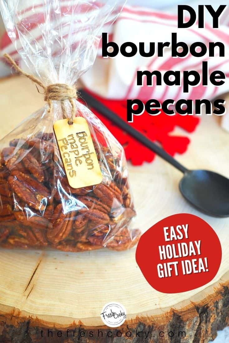 How to Make Praline Pecans! Candied pecans are amazing and these no refined sugar Maple Bourbon Pecans are even better! Sweet maple syrup, smoky bourbon, rich cinnamon, a little spicy heat makes these pecans outrageously addictive! A delicious sweet-salty mix. Recipe via @thefreshcooky | #spicypecans #sweetsalty #pecans #bourbonbarrel #maplesyrup #foodgift #pralinepecans #howtomake via @thefreshcooky