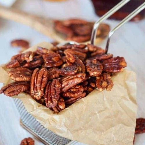 Maple Bourbon Candied Pecans