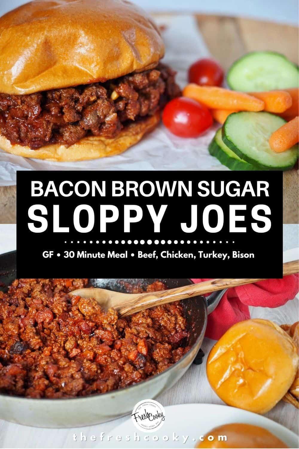 A fabulous quick, easy weeknight meal! These are the best sloppy joes, with bacon, brown sugar and a rich homemade tomato sauce. Easy recipe via @thefreshcooky | #sloppyjoes #bacon #sloppyjoe #burger #sandwich #manwich #glutenfree #30minutemeal #easydinner #dinner #weeknight via @thefreshcooky