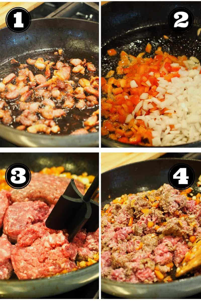 Process shots for Sloppy Joes. 1. crisping bacon, 2. browning onions, veggies. 3. browning ground beef. 4. adding beef and veggies together.