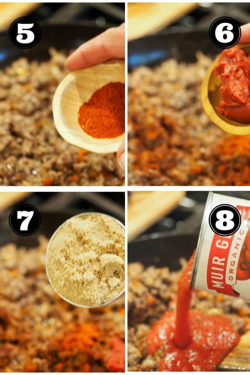 process shots for sloppy joes, 5. adding paprika. 6. adding tomatoe paste. 7. adding brown sugar. 8. adding tomato sauce.
