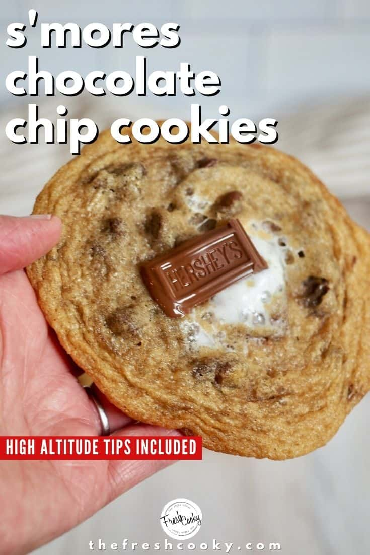 Baking cookies at altitude can be tough, but not with these tips for amazing S'more Stuffed Chocolate Chip Cookies! Outta this world! Recipe and tips via @thefreshcooky | #chewy #best #highaltitude #smores #cookies #desert #summer #treat via @thefreshcooky