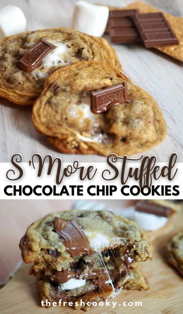 The best S'mores cookies around! You make mini S'mores and stuff them inside of a chewy, chocolate chip cookie! WOW! Recipe via @thefreshcooky | #smores #cookie #best #summer #treat #highaltitude #easyrecipes via @thefreshcooky