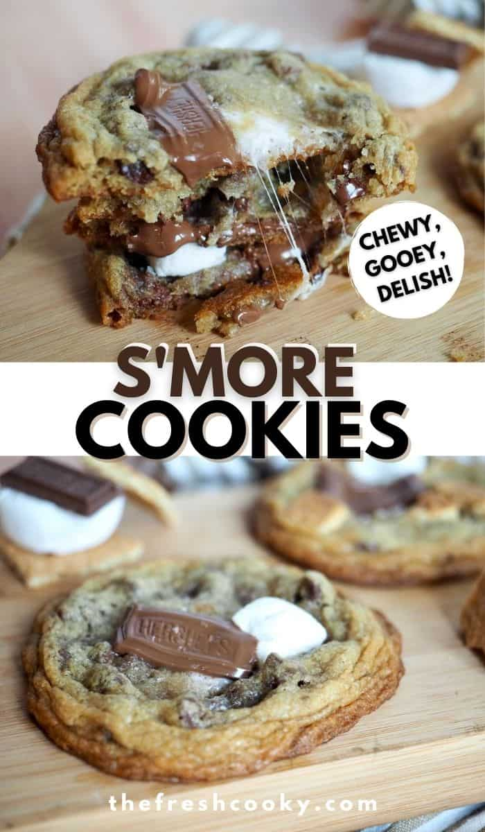 AHMAZING COOKIES! This recipe for S'more Cookies is the best! Mini s'more stacks sandwiched between two stacks of cookie dough for DELICIOUS cookies every time! Recipe via @thefreshcooky | #cookies #smores #easy #dessert #highaltitude #gooey #chewy via @thefreshcooky
