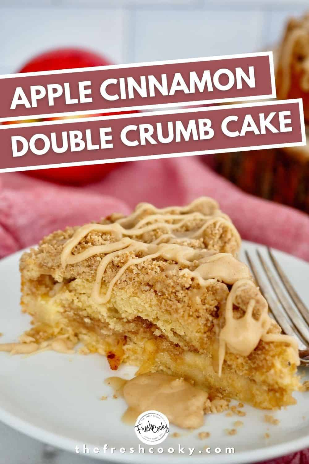 The Best Apple Cinnamon Crumb Cake -- with two layers of brown sugar crumb streusel topping. Cinnamon and nutmeg tossed apples all wrapped in a buttery cake! Perfect fall baking recipe! Via @thefreshcooky | #highaltitude #applecrumble #coffeecake #best #fall  via @thefreshcooky