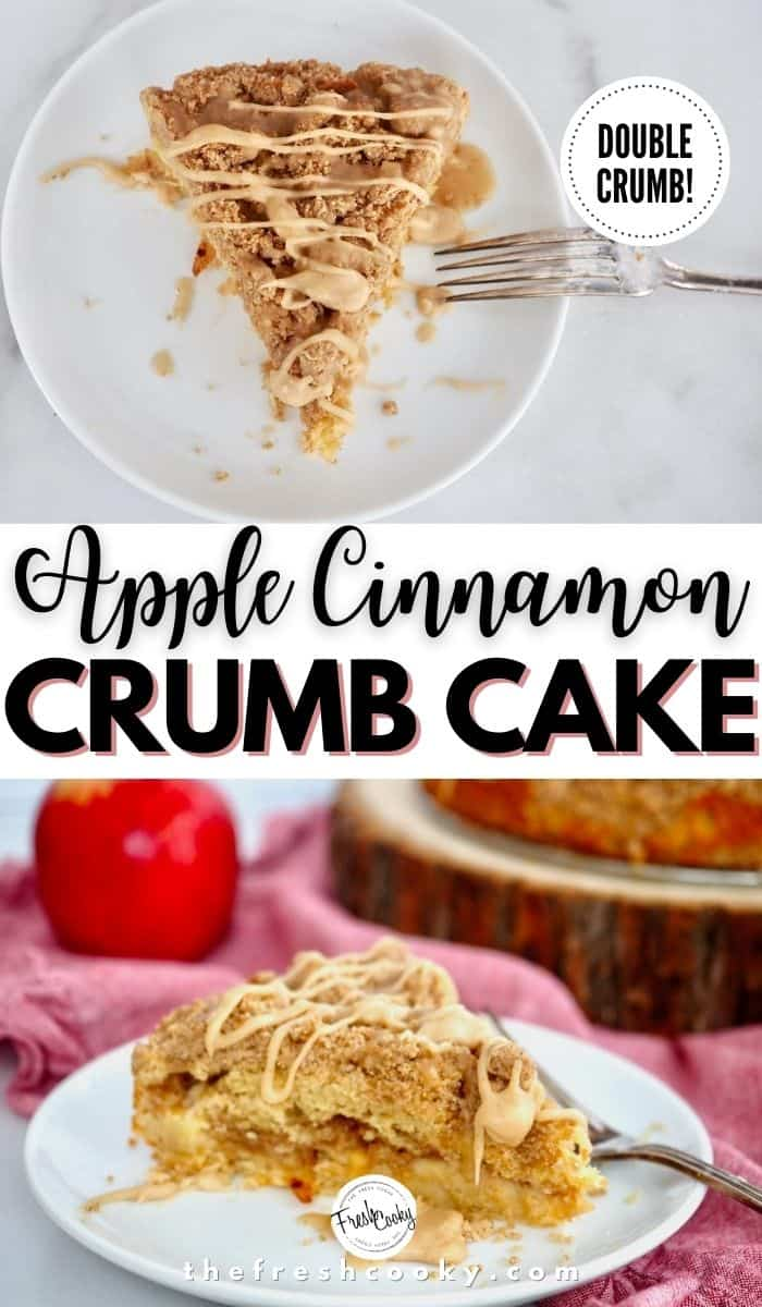 The BEST Apple Crumble Cake recipe for fall baking! Cinnamon and nutmeg spice up this delicious coffee cake with a double streusel crumb topping and a buttery cake! Recipe via @thefreshcooky | #highaltitude #crumbcake #easyrecipes #fall #baking via @thefreshcooky