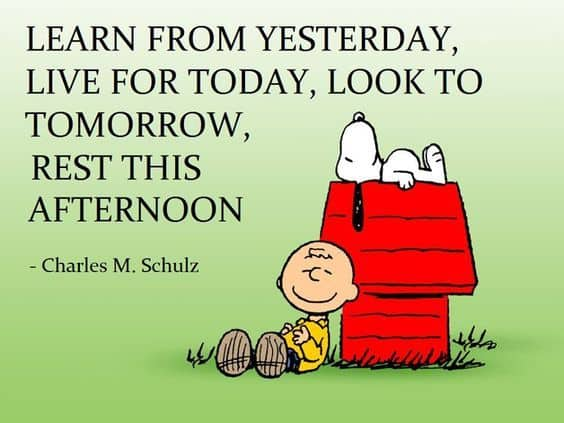 Charlie Brown Quote, learn from yesterday, live for today, look to tomorrow, rest this afternoon.