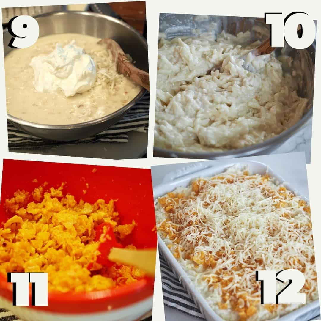 Process shots for cheesy funeral potatoes. #9 add sour cream #10 Stir to combine # 11 add melted butter to corn flakes #12 casserole ready for oven