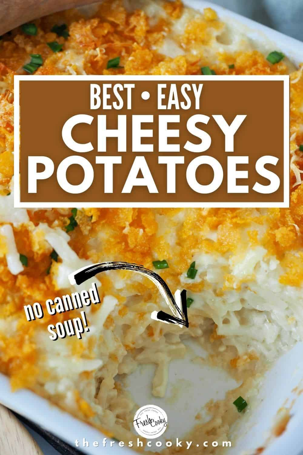 These are THOSE cheesy potatoes, the best potato casserole ever. Whether you call them Funeral Potatoes, or Party Potatoes you should make these easy, no canned soup potato side dish. Make ahead, gluten free options and freezer friendly. Perfect side dish for Christmas, Thanksgiving, Easter or potluck. #thefreshcooky #cheesyfuneralpotatoes #funeralpotatoes #thepioneerwoman via @thefreshcooky