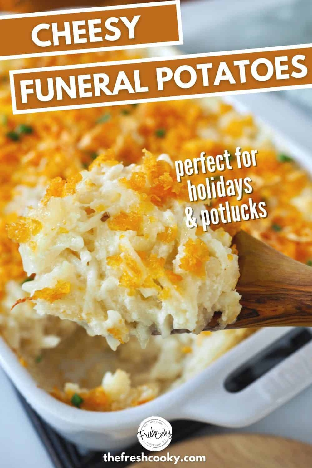 Find out what Funeral Potatoes are on The Fresh Cooky! Using hash browns, sour cream, a homemade white sauce, shredded cheddar cheese (no canned soup) and topped with a buttery corn flake topping, these are the easiest, best cheesy potatoes ever! Make ahead, freezer friendly and gluten free option! WIN! Frozen hash browns mixed with a homemade cream sauce, real shredded cheese, sour cream and topped with a buttery corn flake topping. Great as a Thanksgiving or Christmas side dish (or any holiday) or potluck. #thefreshcooky #cheesyfuneralpotatoes #partypotatoes via @thefreshcooky