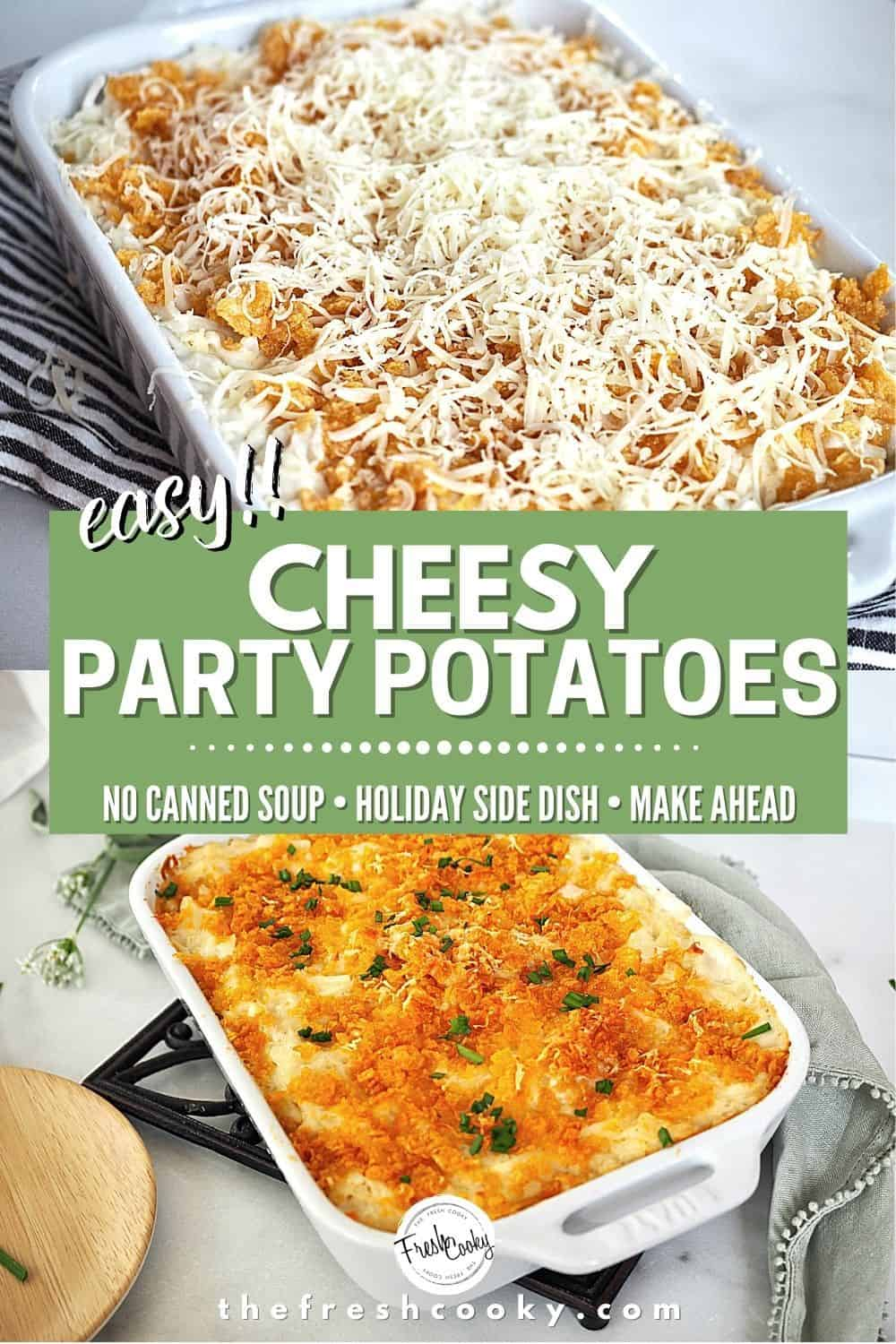 These are THOSE easy cheesy potatoes, the best potato casserole from The Fresh Cooky. Whether you call them Funeral Potatoes, or Party Potatoes you should make these easy, no canned soup potato side dish. Make ahead, gluten free options and freezer friendly. Perfect side dish for Christmas, Thanksgiving, Easter or potluck. #thefreshcooky #cheesyfuneralpotatoes #funeralpotatoes #potatocasserole via @thefreshcooky